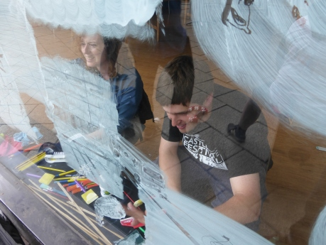 Window drawings with Russ Young. Photo by Paul Evans